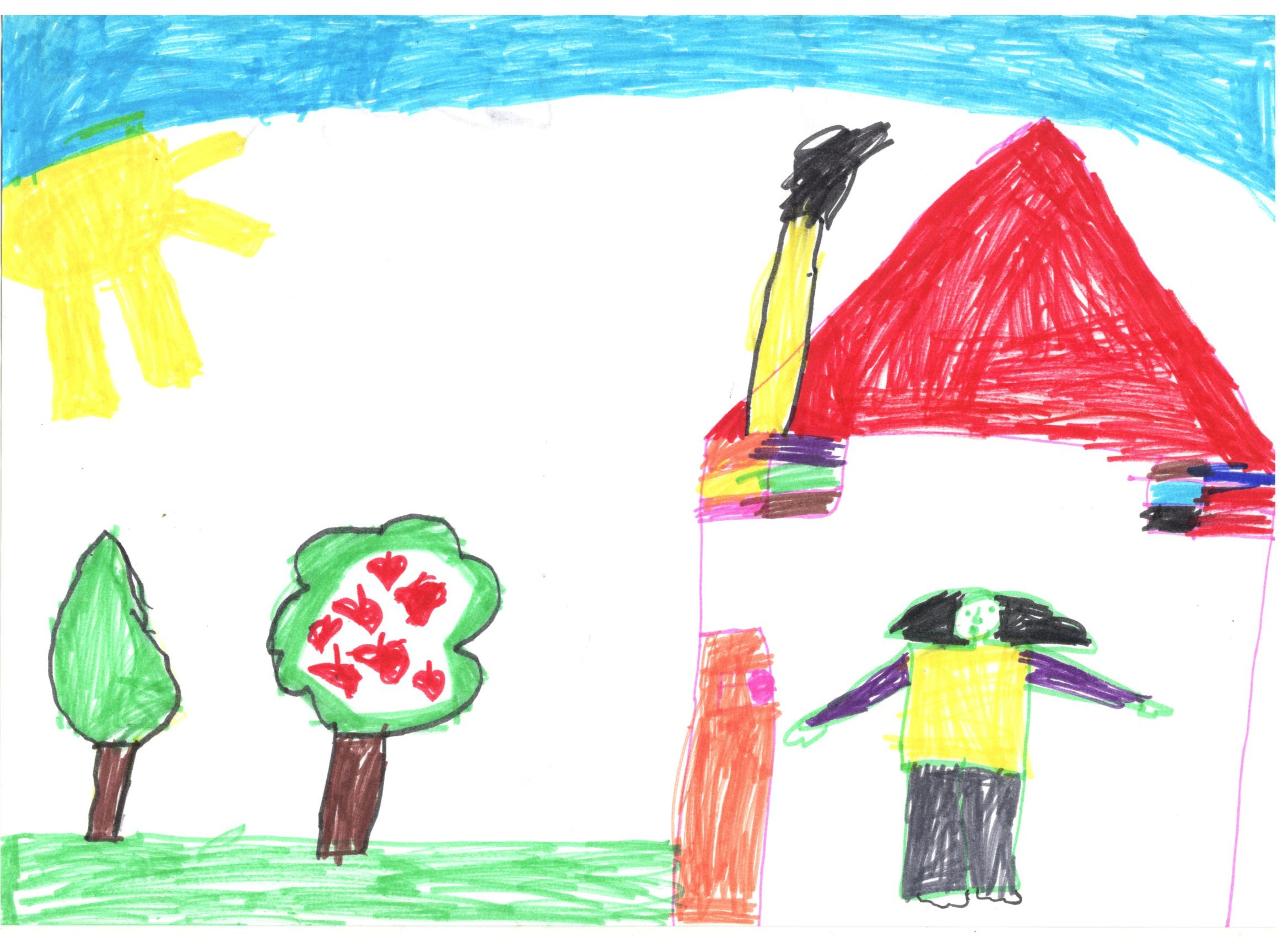 Dessin de Yumna, 6 ans. Elle ne parle pas mais vient  toujours car elle est passionnée de marionnettes