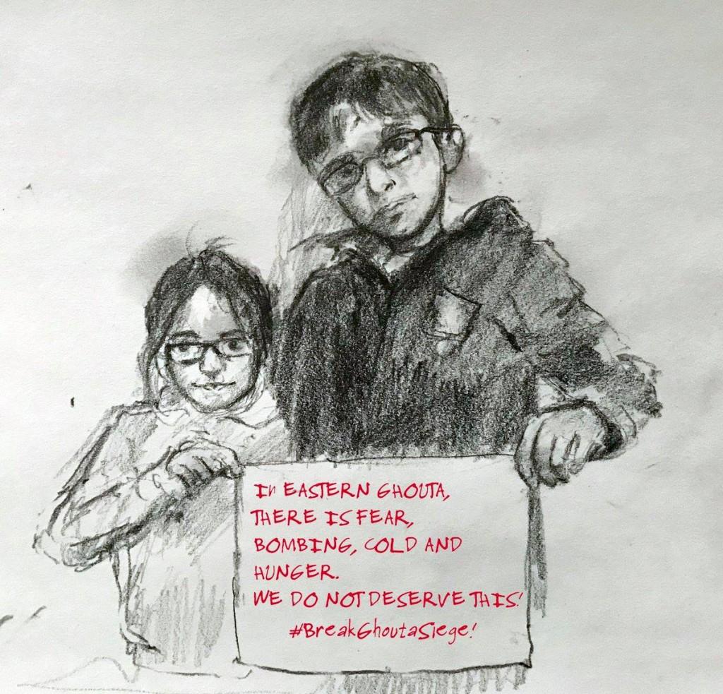 Sham et @Rafida sont frère et sœur, ils tweetent chaque jour : « Dans la Ghouta, il y a la peur, les bombardements, le froid et la faim. Nous ne méritons pas cela ! Brisez le siège de la Ghouta ! » #Breakghoutasiege
